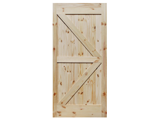 British Brace Knotty Pine V-Groove Barn Door