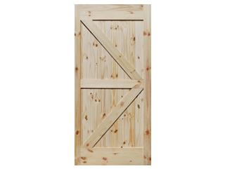 British Brace Knotty Pine V-Groove Barn Door