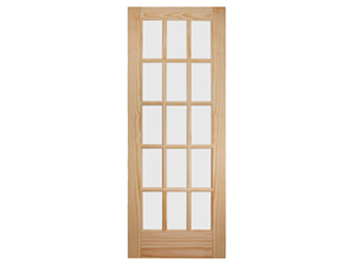 Glazed 15 Lite Pine French Door