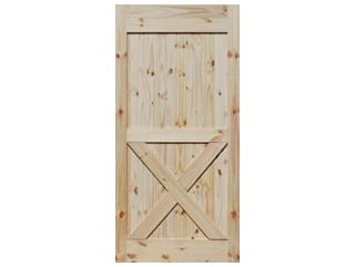 Half X-Brace Knotty Pine V-Groove Barn Door
