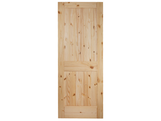 V-Groove 2 Panel Square Top Knotty Pine