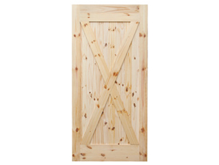 X-Brace Knotty Pine V-Groove Barn Door