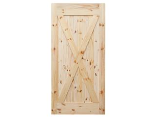 X-Brace Knotty Pine V-Groove Barn Door